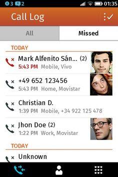 Registro de llamadas, llamadas perdidas