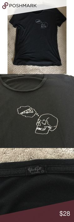 Brandy Melville Skull Pizza Black Tee Worn a couple times but still in excellent condition no stains or rips. One size best fit XS-m Cheaper on Ⓜ️erc 🚫NO TRADES🚫 Brandy Melville Tops Tees - Short Sleeve