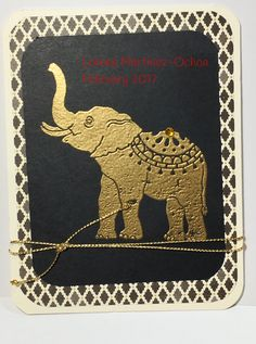 Stampin'Up Lucky Elephant, gold embossing, C/S and DSP - version 1 on black C/S.