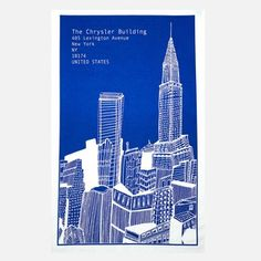 Chrysler Building Tea Towel Blue, 10,50€, now featured on Fab.
