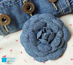 Distressed denim flower, denim hair accessory, denim hair clip