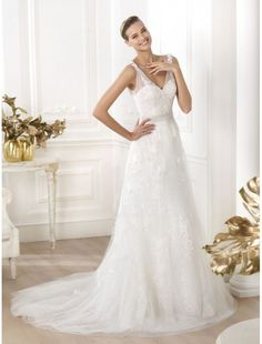 Tulle V-Neck Wedding Dress with Lace Applique PS0050 - Bridal Gowns - RainingBlossoms