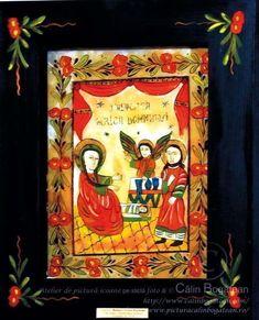 Nașterea Maicii Domnului icoană naivă pictată pe dosul sticlei în ulei pictură tradițională lucrare de artă religioasă ortodoxă