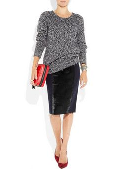 Leather pencil skirt w/ slouchy sweater