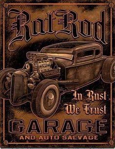 Rat Rod – Garage – auto Salvage : Plaque décorative rétro en métal représentant une voiture ancienne. Idéal pour créer une décoration vintage mécanique dans un garage, un atelier de réparation ou mêmeun diner américain.