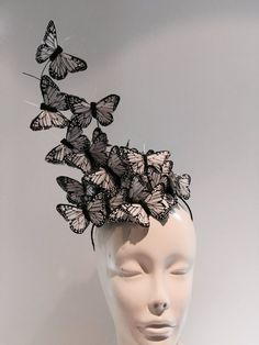 Fascinator- High Tea Hat- This headband/fascinator is made with feather butterflies that perch on black 3 inch sinamay circle. High Tea Hats, White Fascinator, Headpiece Wedding, Wedding Garters, Wedding Veils, Bridal Headpieces, Wedding Hair, Bridal Hair, Crazy Hats