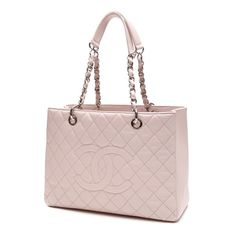 Pre-Owned Chanel Pink Quilted Caviar Leather Grand Shopping Tote Bag ($1,900) ❤ liked on Polyvore featuring bags, handbags, tote bags, light pink, leather purse, chanel handbags, leather handbag tote, leather handbags and handbags totes