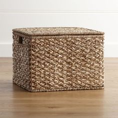 Shop Kelby Large Square Lidded Basket.  A thick and thin weave of natural rattan and bankuan fibers yields lots of texture to these handcrafted lidded baskets.