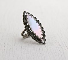 Vintage Mother of Pearl Ring  Adjustable Silver by MaejeanVINTAGE, $35.00