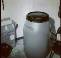 The blue 55 gallon drum which Jeffrey Dahmer used to dissolve the body parts of his victims