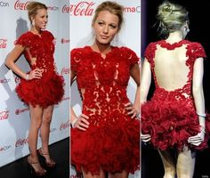 red. feathers. Marchesa