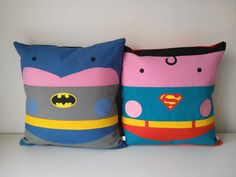 Superman Batman comic kawaii pillow 2  pillow cushions cover cinema adict  40x40 cm  16' x 16' Inches