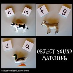 """Teaching letter sounds using toys and letter cards or Scrabble tiles. Child picks the letter that applies to the toy. Steer clear of more difficult sounds like """"sh"""" or """"ch""""."""