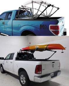 For Ford F-250 & F-350 - Combination ladder rack and headache rack offers safety and flexibility. Sturdy ladder rack flips down to haul cargo and conveniently folds up when not in use. Rugged headache rack protects your truck's cab. Easy, clamp-on installation.