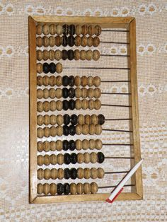 Soviet vintage big wooden abacus (old calculator). Old abacus. Mid-century abacus.