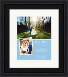 Wedding vows and photos in a custom frame.  This design features two photos and a colorful background.