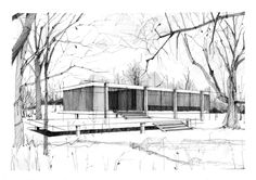 Farnsworth House, Ludwig Mies van der Rohe, Pencil Drawing, Sketches&Illustrations by Patty Piturlea, via Behance