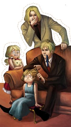 Hetalia England and France with little NyoAmerica and Canada, their faces are priceless