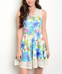Blue & Green Floral A-Line Dress