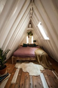 "gravity-gravity: "" Best of Attic Bedrooms I've posted a lot of gorgeous interiors this year, so I thought about making a 'Best of post series. And the first one is about attic bedrooms, I. Attic Bedroom Small, Attic Spaces, Home Bedroom, Tiny Bedrooms, Attic Bathroom, A Frame Bedroom, Bedroom Loft, Attic Bedroom Closets, Small Spaces"