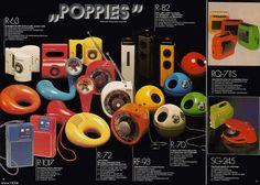 Poppies 70's colored radios, Panasonic 1974 German Product catalog