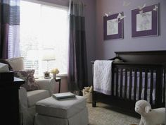 Love the idea of having a purple baby girl's nursery instead of pink. I think this lilac color would look great with our existing baby furniture... especially with accents of dark purple and white, as pictured here.
