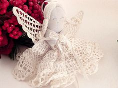 Angel Ornament White Crochet Doily  by SpringJewelryThings on Etsy