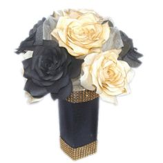 Gold and black Christmas centerpiece Gold holiday decor Gold bridal shower decor Gold home decor Event centerpieces Paper flower decor Black And Gold Centerpieces, Paper Flower Centerpieces, Paper Flower Decor, Holiday Centerpieces, Flower Decorations, Centerpiece Wedding, Centerpiece Ideas, Gold Wedding Decorations, Bridal Shower Decorations