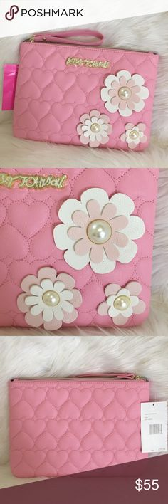 "Betsey large pouch wristlet bag quilted floral Betsey Johnson wristlet clutch bag pouch 💕 pink quilted hearts with 3D pearl flowers 💕 top zipper with handle 💕 10.75"" x 7.7"" 💕 black silver lining inside 💕 great on the go, so beautiful 💖 Betsey Johnson Bags Clutches & Wristlets"
