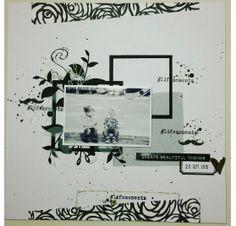 Réalisez une page de scrap' dans les tons noir et blanc : Aurélie M