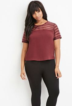 Plus Size Shadow-Stripe Paneled Top | Forever 21 PLUS - 2000145755