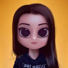 Cartoon, Portrait, Digital Art, Digital Drawing, Digital Painting, Character Design, Drawing, Big Eyes, Cute, Illustration, Art, Girl, Yellow, Sweater, I feel weird, Long Hair