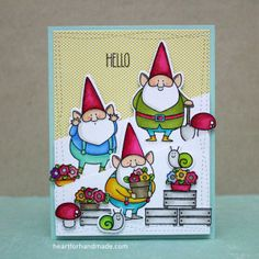 Using My Favorite Things stamps and dies. Partial die cutting used in the gnomes, coloring with promarker