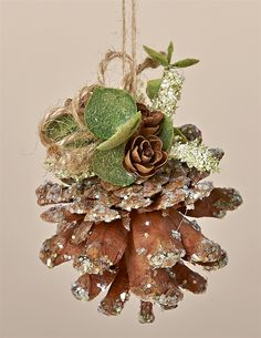"3"" Natural, Sparkles PIne Cone Ornament with flocked Eucalyptus, Tiny Pine Cones and a Jute Hanger"