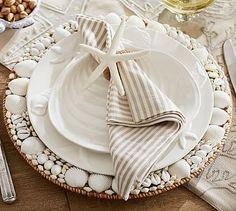 Seashore Dinner Plate, Set of 4 #potterybarn