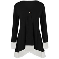 Asymmetric Two Tone Longline T-Shirt, WHITE/BLACK, XL in Long Sleeves | DressLily.com