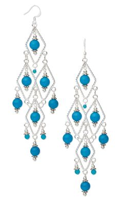 """Earrings with Blue Malaysia """"Jade"""" Gemstone Beads and Sterling Silver Diamond Drops"""