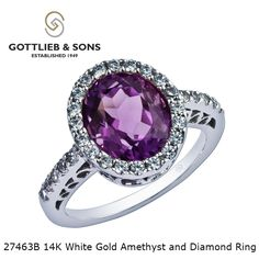 Have all eyes on you with this 14K White Gold #Amethyst and Diamond ring with a #Diamond #halo. Visit your local #GottliebandSons retailer and ask for style number 27463B. #purple