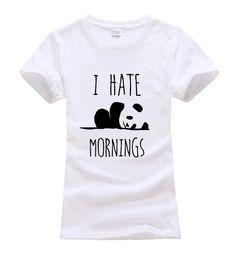 2017 summer I HATE MORNINGS cute Panda Print Women T-shirt fashion harajuku brand korean tee shirt femme funny hipster punk tops