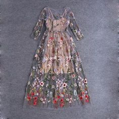 Find More Dresses Information about Runway Dresses 2016 Gorgeous Half Sleeves Sheer Mesh Embroidery Long Dresses Bohemian Brand Style Vestidos De Festa 61461,High Quality dress real,China dress tube Suppliers, Cheap dress formal dress from Queen's Luck on Aliexpress.com  #61461High #about #Aliexpresscom #Bohemian #brand #Cheap #dress #dresses #embroidery #Festa #Find #formal #gorgeous... Mesh Dress, Dress Formal, Long Dresses, Formal Dresses For Women, Cheap Dresses, Pretty Dresses, Beautiful Dresses, Prom Dresses, Summer Dresses