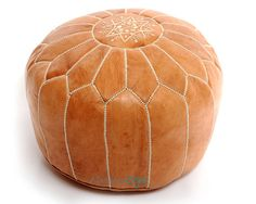 Moroccan Pouf, Light Tan Leather Pouf, Round Ottoman Foot Stool Pouffe, Home Decor-furniture housewares seating