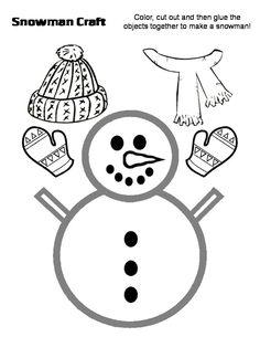 Muñeco de nieve recortable para navidad | Manualidades Infantiles
