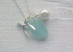 Scottish Sea Glass Jewelry - Sea Glass and Sterling Silver Wish Bone Necklace ....... AQUA WISHES