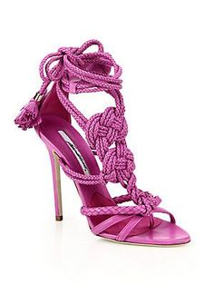 Brian Atwood - Yuna Knotted Braided Leather Ankle-Tie Sandals