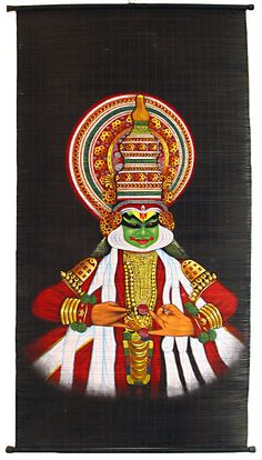Kathakali Dancer - (Wall Hanging) (Painting on Woven Bamboo Strands))