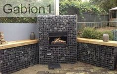Gabion fireplace - could build something like this to create a heat source for the deck Outdoor Fire, Outdoor Living, Stone Wall Design, Gabion Wall, Garden Floor, Garden Stones, Interior Exterior, Bbq Grill, Outdoor Projects