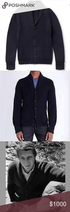 Tom Ford Steve Mcqueen Shawl-Collar Cardigan Navy Based on a design favoured by style icon Mr Steve McQueen, this classic navy cardigan is knitted from naturally insulating wool with a tactile ribbed finish. It was famoulsy worn by Daniel Craig in James Bond and also by many other celebrities including Tom Brady.  	•	Tom Ford ribbed 8-gauge wool cardigan inspired by the iconic Steve McQueen. 	•	Shawl collar; leather-covered button front. 	•	Front patch pockets. 	•	Ribbed cuffs and hem…