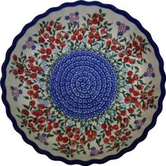 Polish Pottery Ceramika Boleslawiec 1212282 Royal Blue Patterns 4Cup 978Inch Diameter Pie Baker Small Red Berries and Daisies -- Click image for more details.(This is an Amazon affiliate link and I receive a commission for the sales)