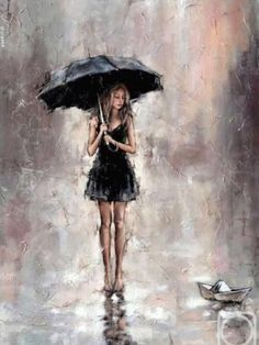 Image result for watercolor painting of girl in rain