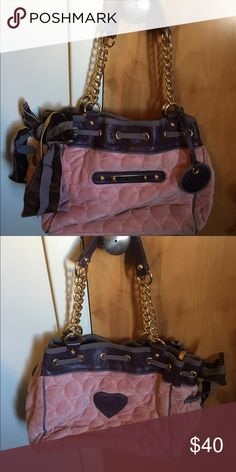 Juicy Couture Handbag Good condition. Authentic. Pink with brown. Velour material. Juicy Couture Bags Shoulder Bags
